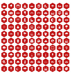 100 view icons hexagon red vector image