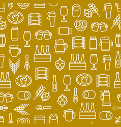 beer alcohol drink thin line seamless pattern vector image vector image