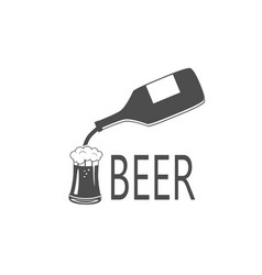 black silhouette of beer bottle and glass vector image vector image