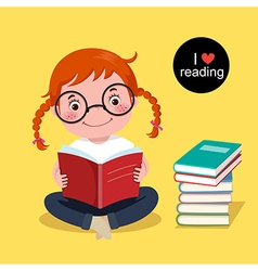 Cute girl reading a book vector image vector image