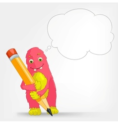 Funny Monster Writer vector image vector image