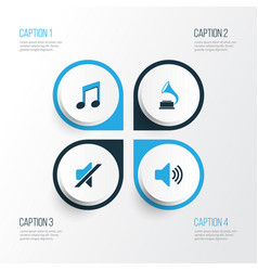 multimedia colorful icons set collection of mute vector image vector image