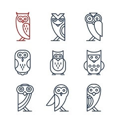 Set of Owl Design Elements in Linear Style vector image