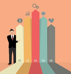 Businessman presenting the marketing infographic vector image vector image