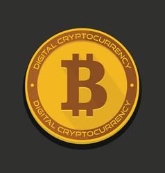 cartoon golden bitcoin coin vector image