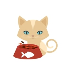 kitten blue eyes plate food fish print vector image