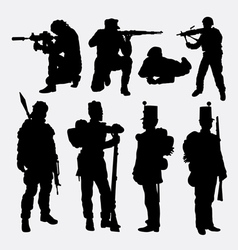 Military soldier army activity silhouette vector image vector image