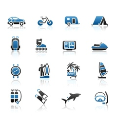 vacation recreation travel icons set vector image