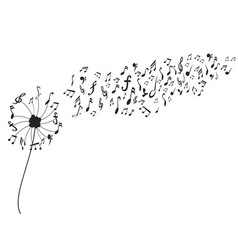 Dandelion with music notes vector