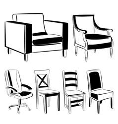 furniture black version vector image vector image