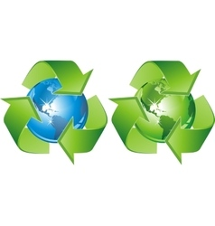 green blue-recycling-signs vector image vector image
