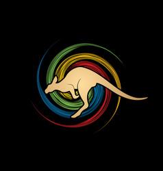 Kangaroo jumping shape graphic vector