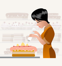 pastry chef decorating a cake vector image