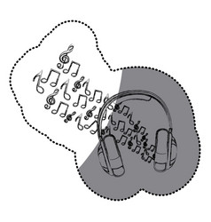 sticker silhouette headphones with musical notes vector image