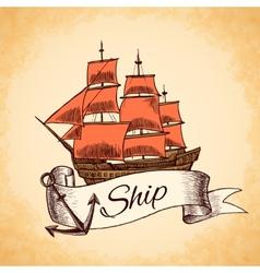 Tall ship emblem vector image