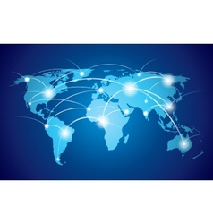 World map with global network vector image vector image
