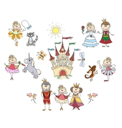 Children drawings for little girl vector image