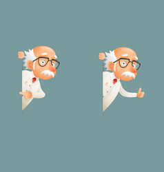 Old wise scientist character look out corner icons vector