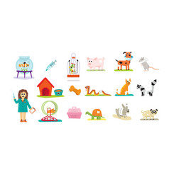 professional vet doctor and domestic animals set vector image