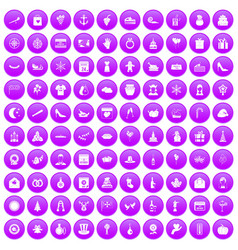 100 festive day icons set purple vector