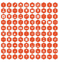 100 medical treatmet icons hexagon orange vector
