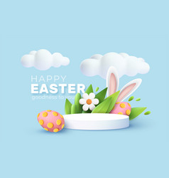 3d trendy easter greeting with product podium vector