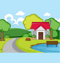 a rural house in nature vector image