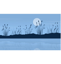 At night lake scenery with moon vector
