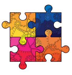 Autism puzzle simbol with transition colors vector