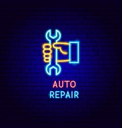 auto repair neon label vector image