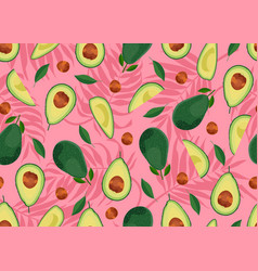 Avocado seamless pattern whole and sliced on pink vector
