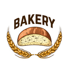 bakery bread in engraving style design element vector image