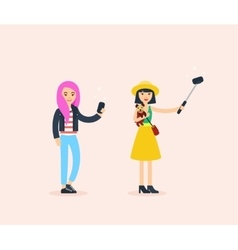 Beautiful fashion girls taking a selfie with vector image