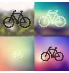 Bicycle icon on blurred background vector