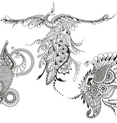Bird Phoenix three Peacocks for tattoo template vector