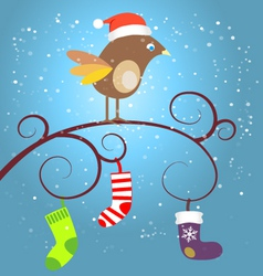 birdie at Christmas vector image