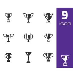 Black trophy icons set vector