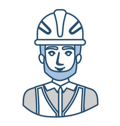 Blue silhouette with half body of male bearded vector