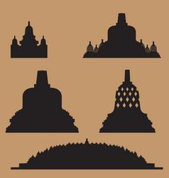 borobudur temple various stupa shapes vector image