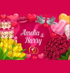 bride and groom names wedding party invitation vector image