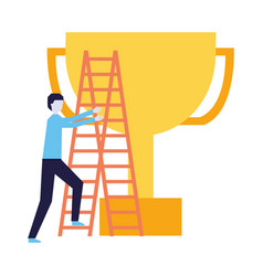 business man climb stairs and trophy vector image