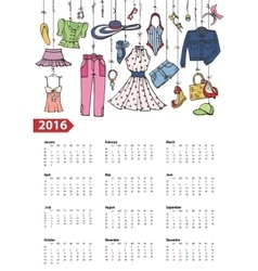 Calendar 2016 yearSummer fashion setColored vector