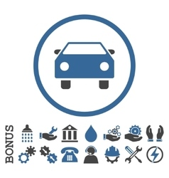 Car Flat Rounded Icon With Bonus vector image