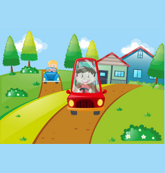 Children driving small cars on the road vector