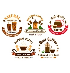 Coffee icons for cafe signboards vector