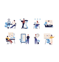 Collection of people successfully organizing their vector