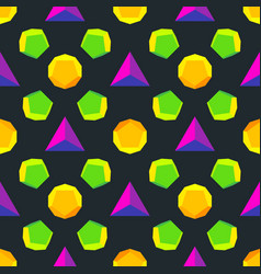 Colored polyhedrons seamless pattern vector