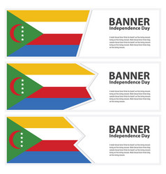 Comoros flag banners collection independence day vector