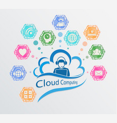 Computer cloud sign vector