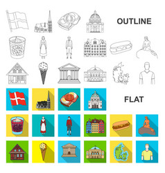 Country denmark flat icons in set collection for vector